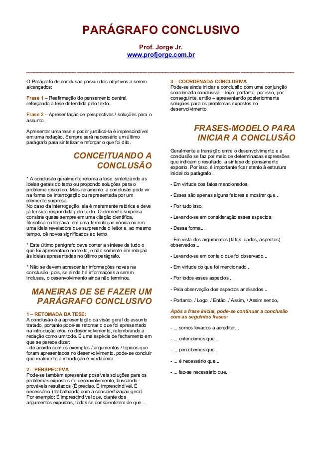 PARÁGRAFO CONCLUSIVO                                                 Prof. Jorge Jr.                                      ...