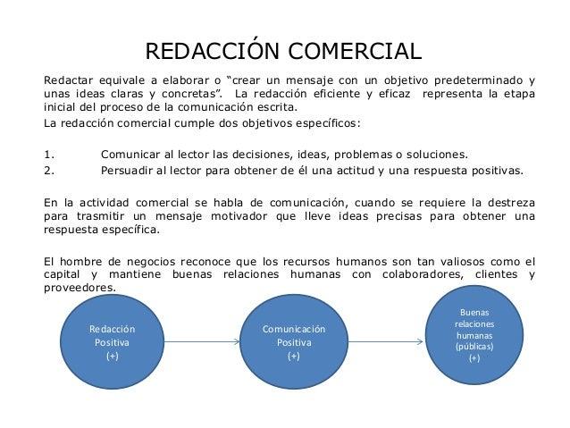 """REDACCIÓN COMERCIALRedactar equivale a elaborar o """"crear un mensaje con un objetivo predeterminado yunas ideas claras y co..."""