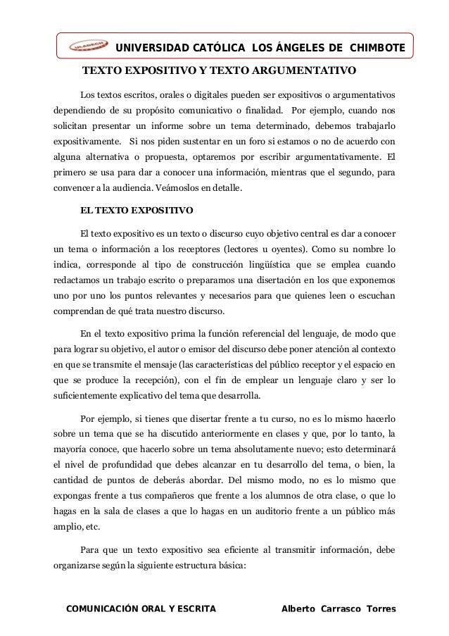 UNIVERSIDAD CATÓLICA LOS ÁNGELES DE CHIMBOTE COMUNICACIÓN ORAL Y ESCRITA Alberto Carrasco Torres TEXTO EXPOSITIVO Y TEXTO ...