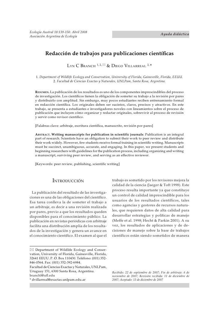 Ecología Austral 18:139-150. Abril 2008EDACCIÓN DE TRABAJOS CIENTÍFICOSAbril de 2008                        R             ...