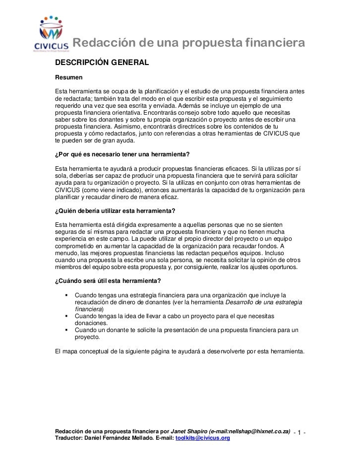 Redacción de una propuesta financieraDESCRIPCIÓN GENERALResumenEsta herramienta se ocupa de la planificación y el estudio ...