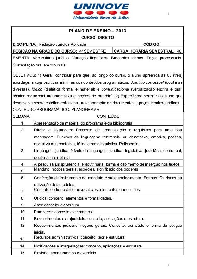 1                                 PLANO DE ENSINO – 2013                                         CURSO: DIREITODISCIPLINA:...