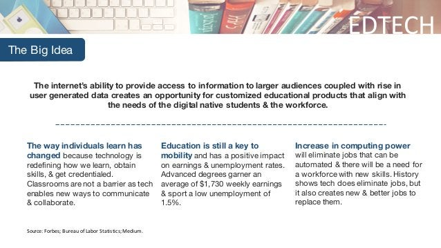 EDTECH The Big Idea The internet's ability to provide access to information to larger audiences coupled with rise in user ...