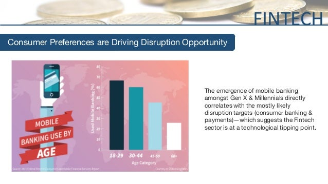 Consumer Preferences are Driving Disruption Opportunity The emergence of mobile banking amongst Gen X & Millennials direct...