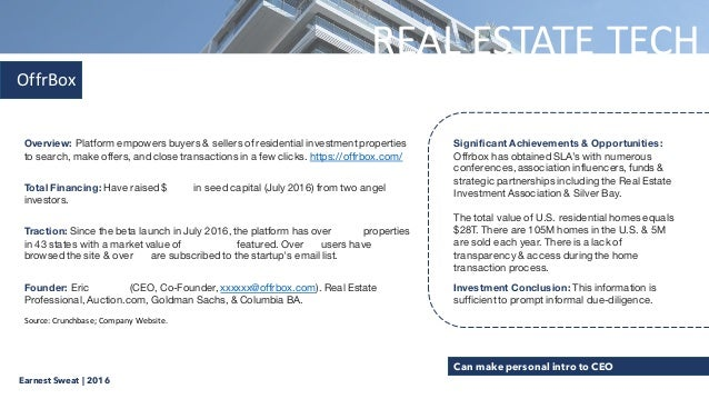 Early Stage Real Estate Tech Investment Thesis (Sept 2016)