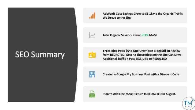 SEO Summary AdWords Cost-Savings Grew to $1.1k via the Organic Traffic We Drove to the Site. Total Organic Sessions Grew +...