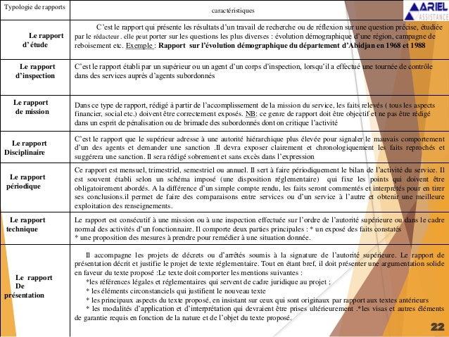 22 Typologie de rapports caractéristiques Le rapport d' étude C'est le rapport qui présente les résultats d'un travail de ...