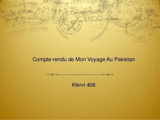 Compte-rendu de Mon Voyage Au Pakistan Klervi 406