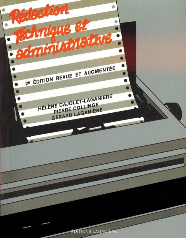 RÉDACTION TECHNIQUE ET ADMINISTRATIVE ~ édition, revue et augmentée