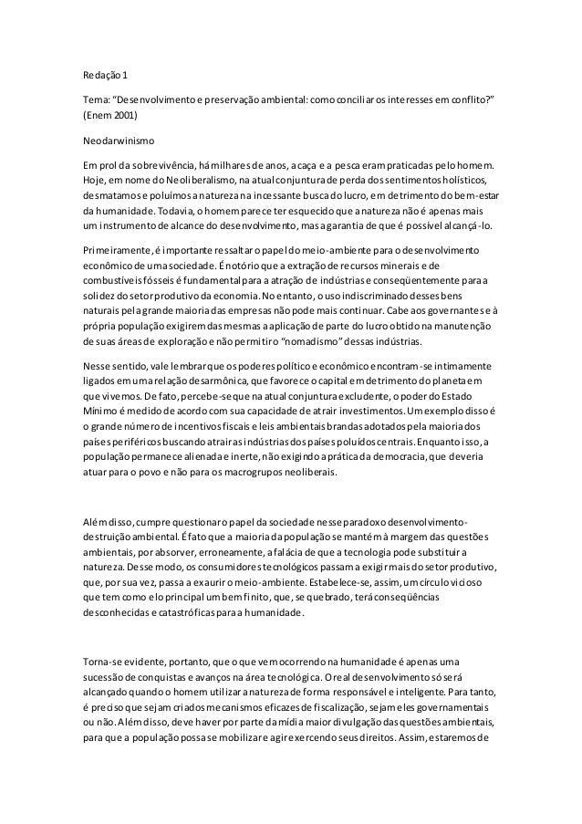"""Redação1 Tema:""""Desenvolvimentoe preservaçãoambiental:comoconciliarosinteressesemconflito?"""" (Enem2001) Neodarwinismo Em pro..."""