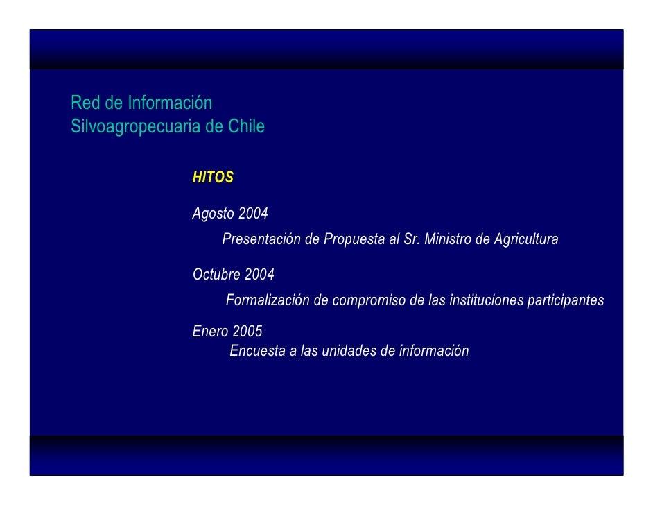 Red de Información Silvoagropecuaria de Chile                  HITOS                  Agosto 2004                     Pres...
