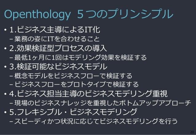 Openthology 5つのプリンシプル • 1.ビジネス主導によるIT化 – 業務の姿にITを合わせること • 2.効果検証型プロセスの導入 – 最低1ヶ月に1回はモデリング効果を検証する • 3.検証可能なビジネスモデル – 概念モデルを...