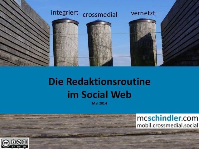 1 Die Redaktionsroutine im Social Web Mai 2014 integriert crossmedial vernetzt