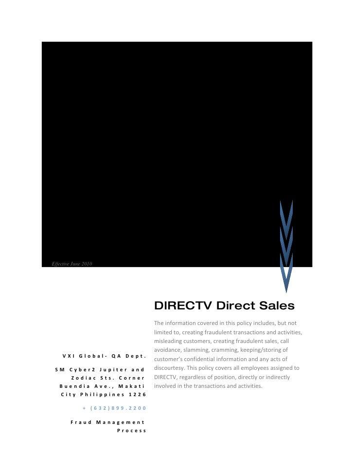 DIRECTV DS Red Alert Policy Fraud Management Process Effective June 2010                                     DIRECTV Direc...