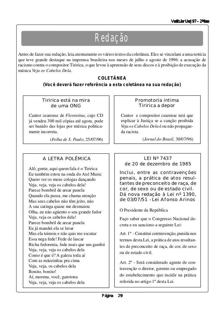 Vestibular Uerj 97 – 2ª fase                                           RedaçãoAntes de fazer sua redação, leia atentamente...