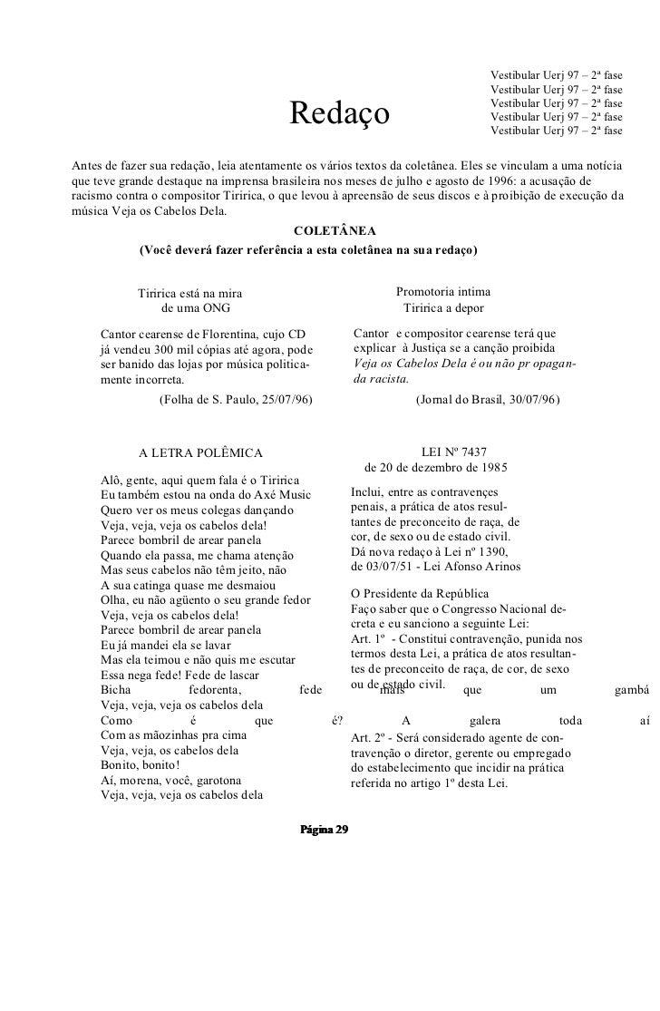 Vestibular Uerj 97 – 2ª fase                                                                                Vestibular Uer...
