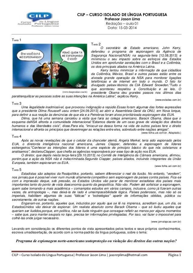 CILP – Curso Isolado de Língua Portuguesa| Professor Jason Lima | jasonrplima@hotmail.com Página 1 CILP – CURSO ISOLADO DE...