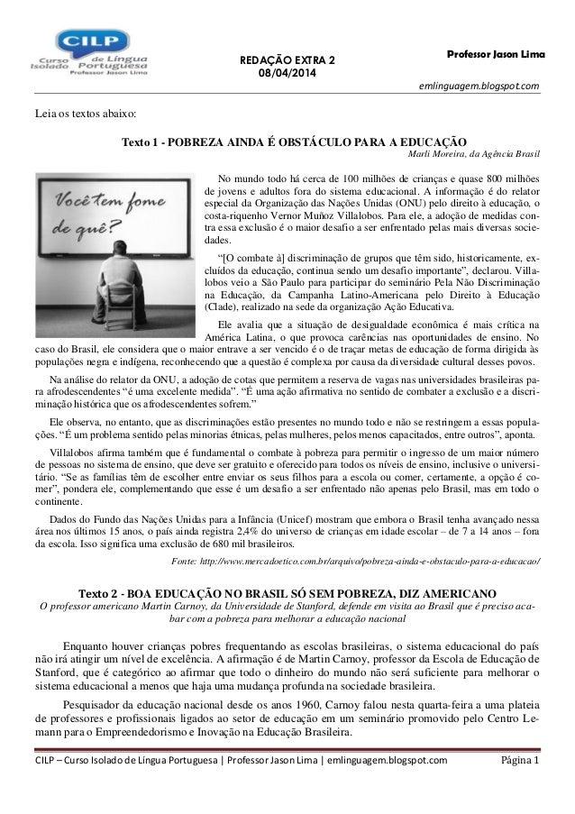 REDAÇÃO EXTRA 2 08/04/2014 emlinguagem.blogspot.com CILP – Curso Isolado de Língua Portuguesa | Professor Jason Lima | eml...
