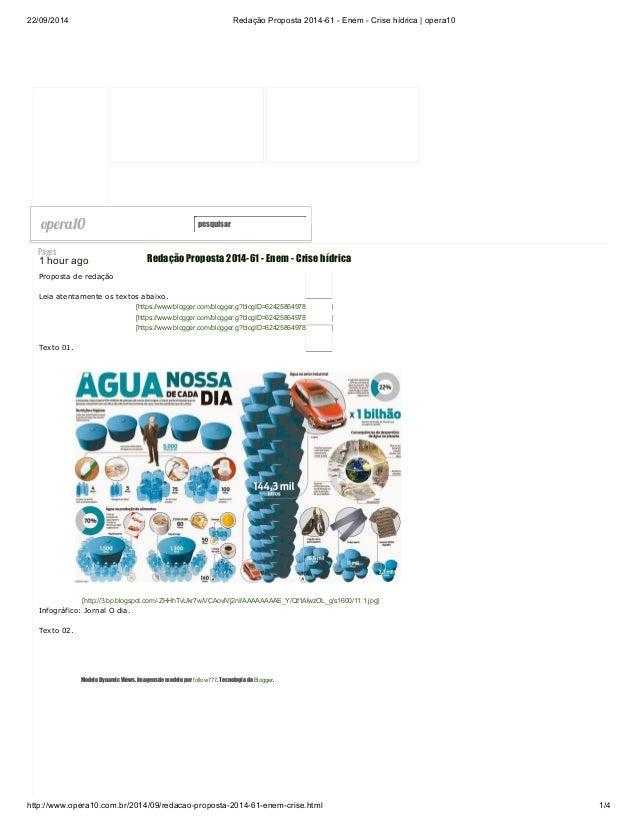 22/09/2014 Redação Proposta 2014-61 - Enem - Crise hídrica | opera10  opera10 pesquisar  Mosaic  Pages  1 hour ago  Propos...