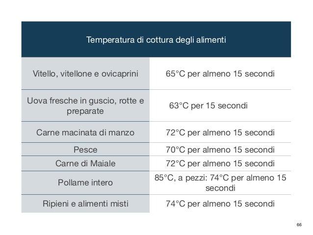 Temperatura di cottura degli alimenti Vitello, vitellone e ovicaprini 65°C per almeno 15 secondi Uova fresche in guscio, r...