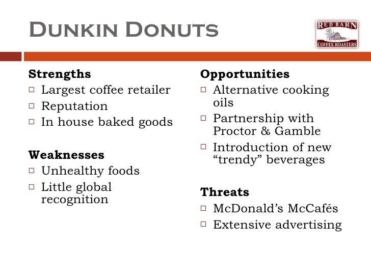 dunkin donuts swot analysis Financial analysis - dunkin  the four segments are dunkin' donuts us, baskin robbins us, dunkin' donuts international and baskin robbins international dunkin.
