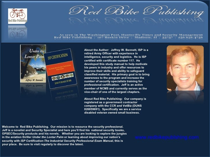 Welcome to  Red Bike Publishing.  Our mission is to resource the security professional.  Jeff is a novelist and Security S...