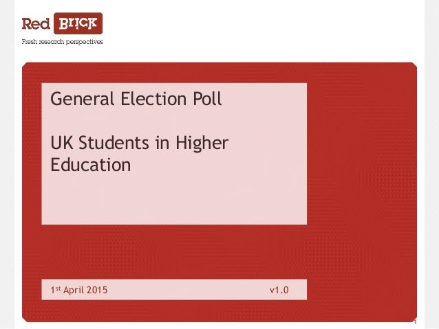 www.redbrickresearch.co.uk 1 General Election Poll UK Students in Higher Education 1st April 2015 v1.0