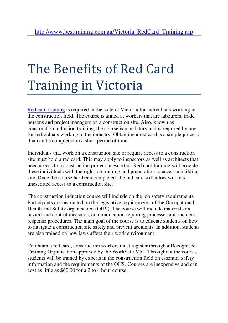 http://www.besttraining.com.au/Victoria_RedCard_Training.aspThe Benefits of Red CardTraining in VictoriaRed card training ...