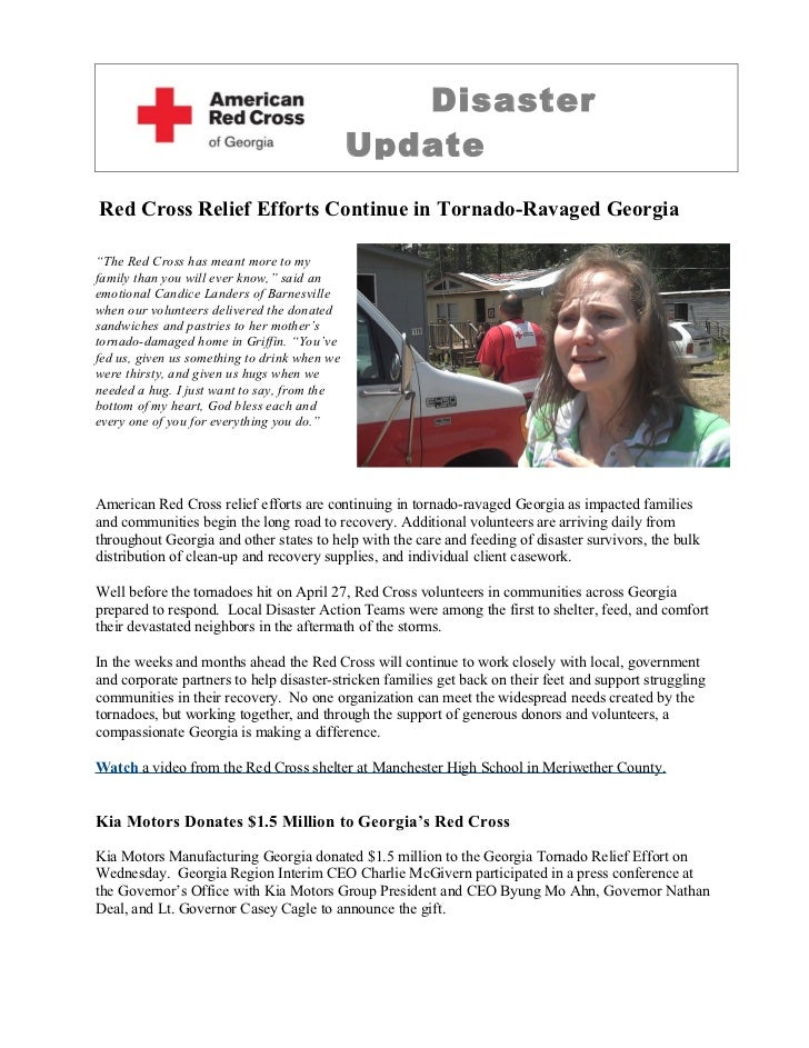 """Disaster                                              UpdateRed Cross Relief Efforts Continue in Tornado-Ravaged Georgia""""T..."""
