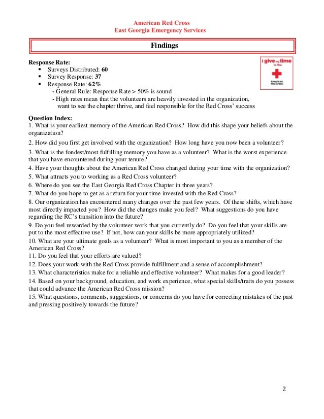 Red cross satisfaction study for Volunteer satisfaction survey template