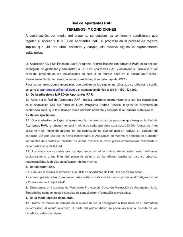 Red de Aportantes PAR TERMINOS Y CONDICIONES A continuación, por medio del presente, se detallan los términos y condicione...