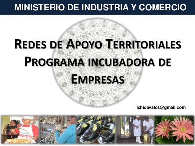 REDES DE APOYO TERRITORIALES PROGRAMA INCUBADORA DE EMPRESAS MINISTERIO DE INDUSTRIA Y COMERCIO lichidavalos@gmail.com