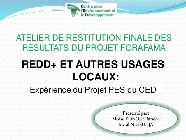 ATELIER DE RESTITUTION FINALE DES RESULTATS DU PROJET FORAFAMA REDD+ ET AUTRES USAGES LOCAUX: Expérience du Projet PES du ...