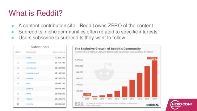 What is Reddit? ● A content contribution site - Reddit owns ZERO of the content ● Subreddits: niche communities often rela...