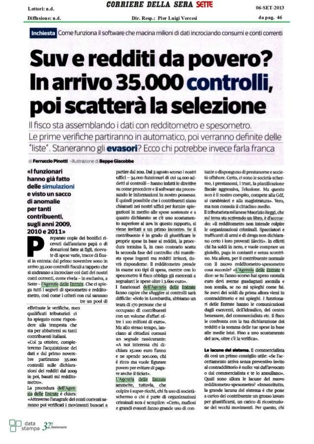 Redditometro- scatteranno 35000 controlli  (STUDIO NATILLO)