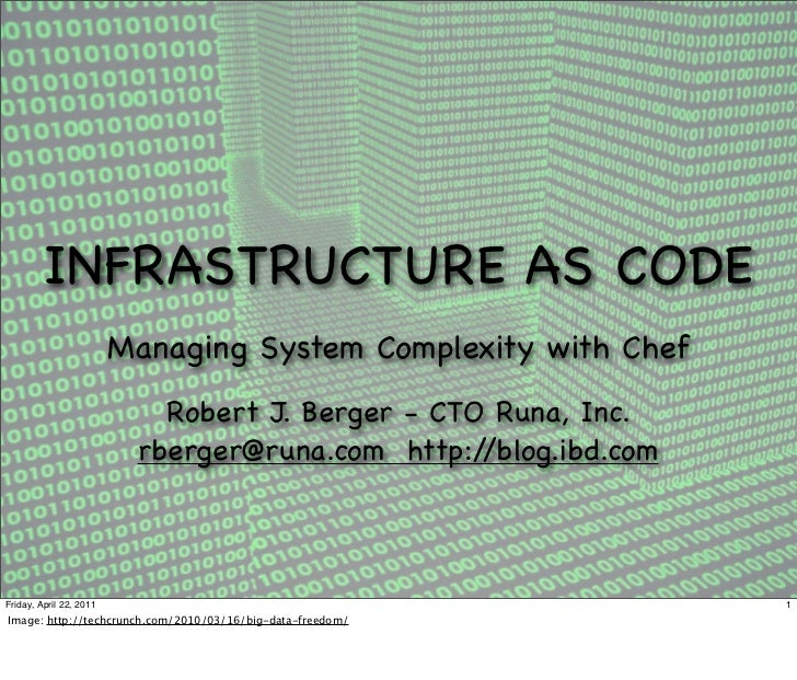 INFRASTRUCTURE AS CODE                         Managing System Complexity with Chef                            Robert J. B...