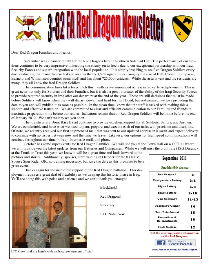 Dear Red Dragon Families and Friends,         September was a banner month for the Red Dragons here in Southern Salah ad D...