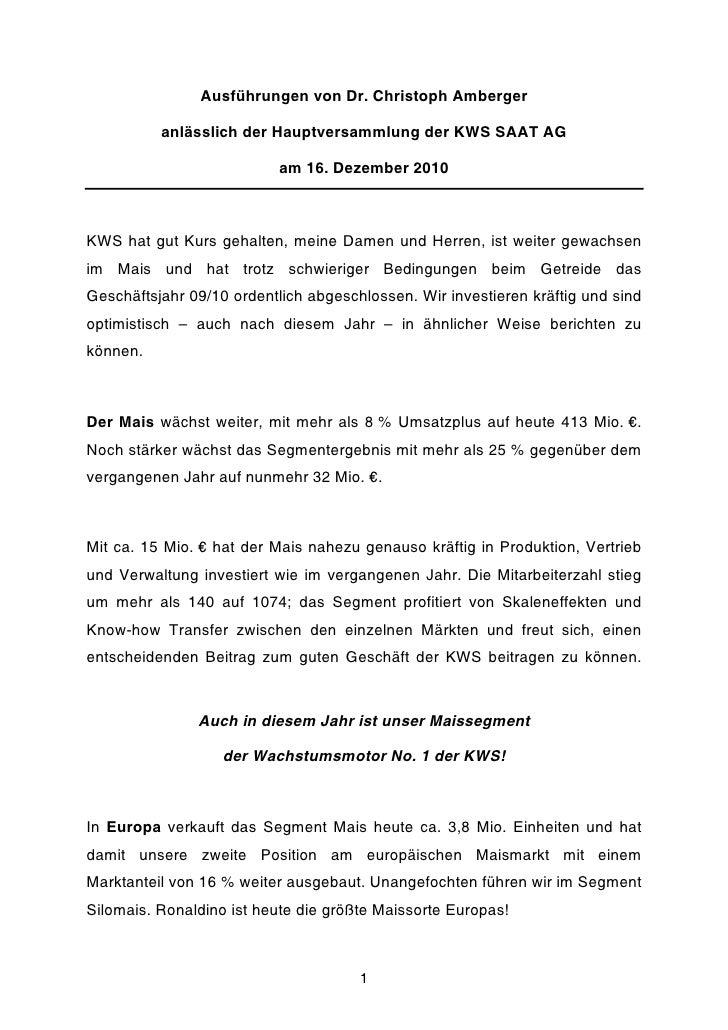Ausführungen von Dr. Christoph Amberger          anlässlich der Hauptversammlung der KWS SAAT AG                          ...