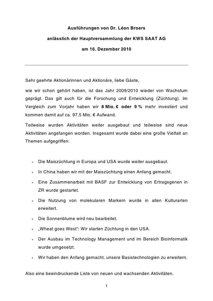 Ausführungen von Dr. Léon Broers           anlässlich der Hauptversammlung der KWS SAAT AG                             am ...