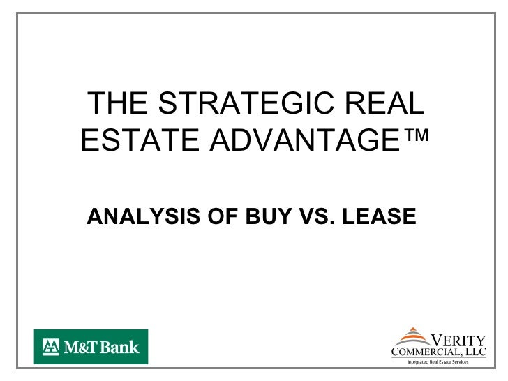 THE STRATEGIC REALESTATE ADVANTAGE™ANALYSIS OF BUY VS. LEASE