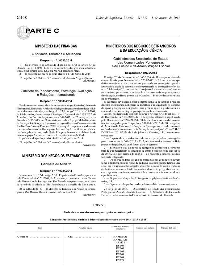 20108 Diário da República, 2.ª série — N.º 149 — 5 de agosto de 2014 PARTE C MINISTÉRIO DAS FINANÇAS Autoridade Tributária...