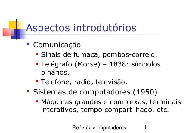 Aspectos introdutórios   Comunicação       Sinais de fumaça, pombos-correio.       Telégrafo (Morse) – 1838: símbolos  ...