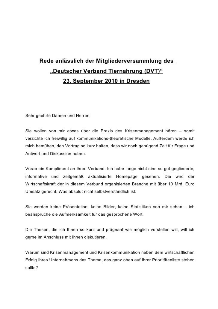 """Rede anlässlich der Mitgliederversammlung des               """"Deutscher Verband Tiernahrung (DVT)""""                     23. ..."""
