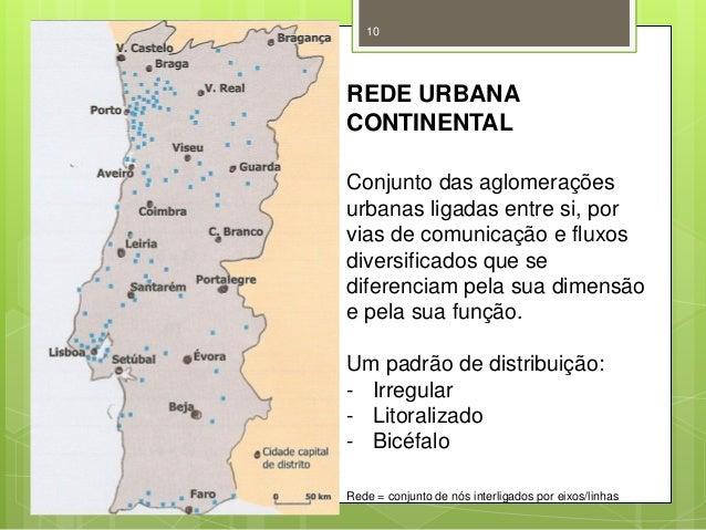 10  REDE URBANA CONTINENTAL Conjunto das aglomerações urbanas ligadas entre si, por vias de comunicação e fluxos diversifi...