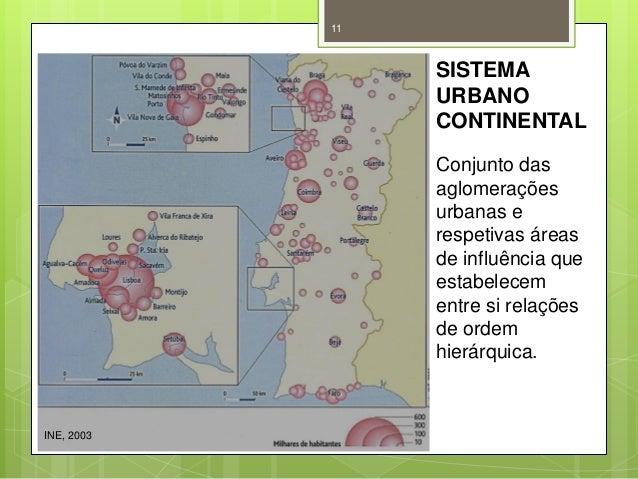 11  SISTEMA URBANO CONTINENTAL Conjunto das aglomerações urbanas e respetivas áreas de influência que estabelecem entre si...