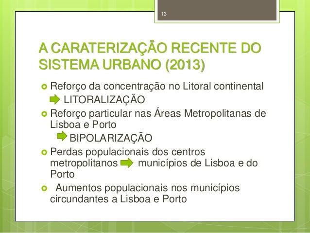 13  A CARATERIZAÇÃO RECENTE DO SISTEMA URBANO (2013)  Reforço  da concentração no Litoral continental LITORALIZAÇÃO  Ref...