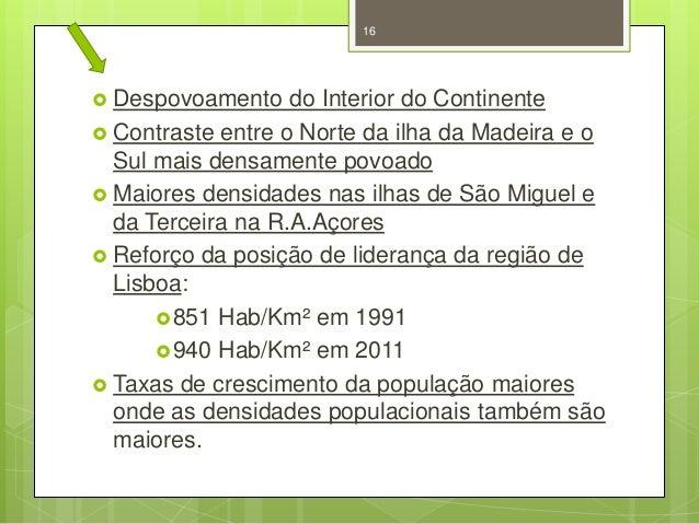 16   Despovoamento  do Interior do Continente  Contraste entre o Norte da ilha da Madeira e o Sul mais densamente povoad...