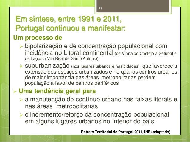 18  Em síntese, entre 1991 e 2011, Portugal continuou a manifestar: Um processo de  bipolarização e de concentração popul...