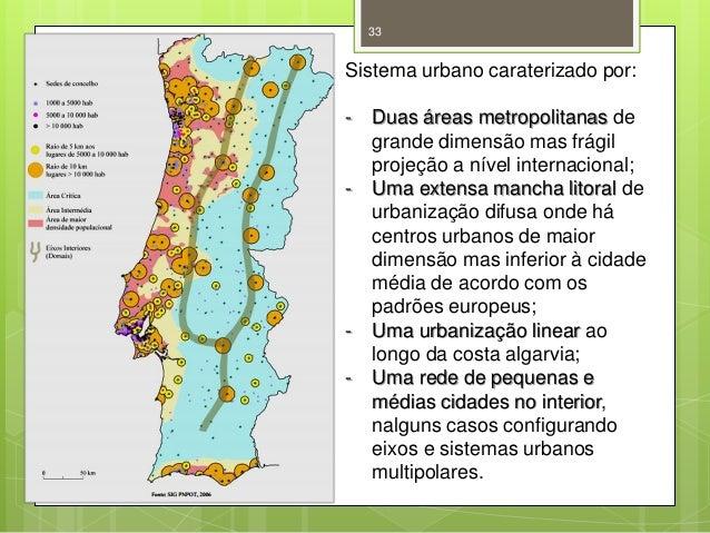 33  Sistema urbano caraterizado por: -  -  -  Duas áreas metropolitanas de grande dimensão mas frágil projeção a nível int...