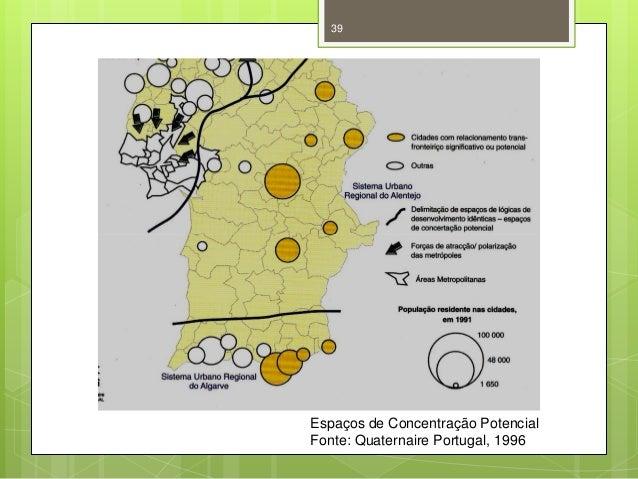 39  Espaços de Concentração Potencial Fonte: Quaternaire Portugal, 1996
